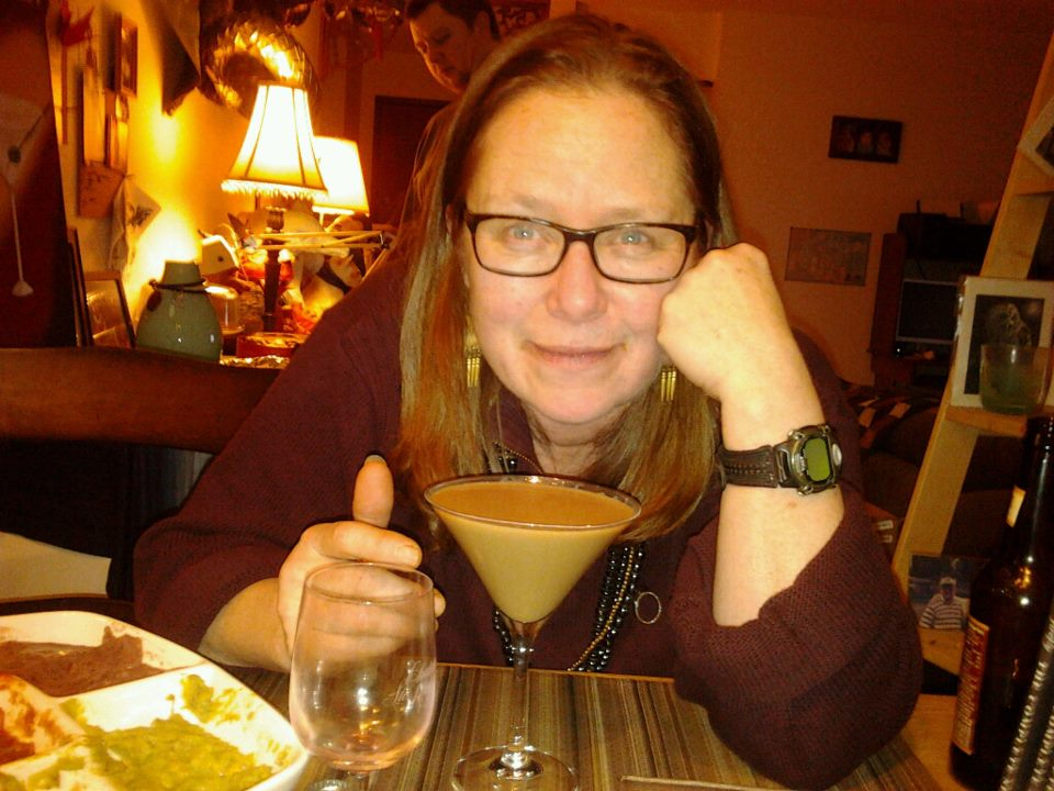 Carol with a yummy eggnog martini!