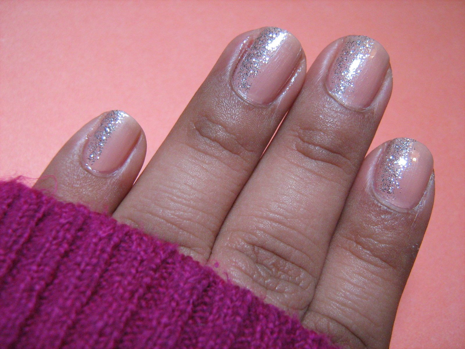 Nude and Glitter Manicure
