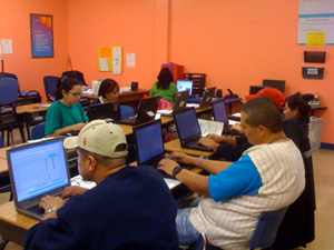 Some of my students while practicing their typing.